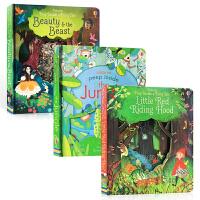 英文原版 Usborne Peep Inside 偷偷看里面系列3本套装灰姑娘美女与野兽 小红帽儿童幼儿睡前故事阅读洞