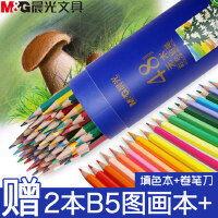 晨光彩色铅笔水溶性彩铅画笔彩笔无木彩铅学生用24色手绘成本初学者36色美术专业48色画画套装彩色铅笔幼儿园