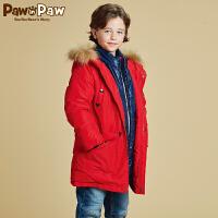 【3件2折 到手价:340】Pawinpaw宝英宝卡通小熊童装冬季款男童白鸭绒羽绒服儿童中长款