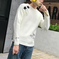 秋季薄款修身圆领毛衣男士绣花针织衫青少年套头打底白色毛线衣潮
