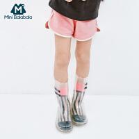 【99选3】迷你巴拉巴拉女童裤子2019夏新款儿童宽松运动短裤复古休闲裤短款