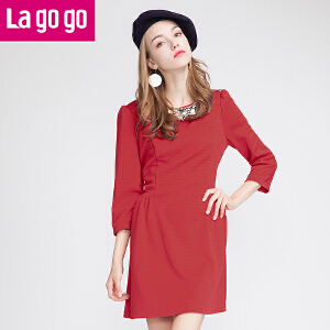 lagogo秋冬新款红色拼接高腰显瘦打底外穿连衣裙中长袖中裙