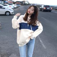 冬季韩版宽松连帽中长款刺绣加绒卫衣外套百搭bf风套头长袖上衣女