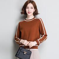 长袖打底衫女秋装新款短款毛衣套头宽松针织衫秋冬季外套圆领