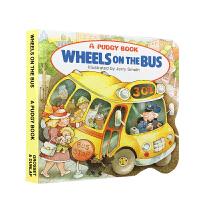 英文原版 The Wheels on the Bus 哗哗巴士 0-3岁小宝宝启蒙早教纸板绘本书 Pudgy Board Book