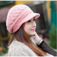 冬季帽子女士 秋冬天韩版潮保暖可爱毛呢兔 毛针织毛线针织贝雷帽