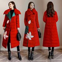 民族风女中长款冬装复古刺绣棉衣中国风加厚面包棉袄
