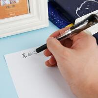 学生简约按动水笔中性笔签字笔黑色蓝色红色笔芯0.5mm12支一盒办公用品文具碳素笔学生文具学生用品