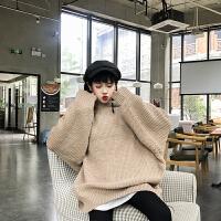 秋装女装韩版宽松bf中长款连帽毛线卫衣学生百搭粗针织毛衣外套女