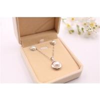 s925纯银天然珍珠项链耳钉简约款首饰套装 母节送妈妈生日礼物