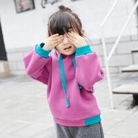 儿童撞色卫衣女秋冬新款休闲抓绒纯棉保暖长袖套头潮童装上衣