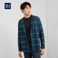HLA/海澜之家连帽撞色格纹长袖衬衫2019冬季新品时尚保暖长衬男