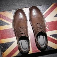 DAZED CONFUSEDU 春季潮鞋布洛克雕花男鞋英伦风厚底男士休闲皮鞋男系带单鞋子