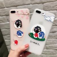 iPhone6手机壳苹果7磨砂透明壳6splus浮雕软套8p防滑可爱中国风x女款新潮防滑全包边防摔六七八夏季硅胶挂绳