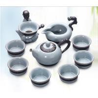 龙泉青瓷家用陶瓷泡茶壶 整套开片哥窑汝窑功夫茶具套装盖碗