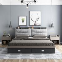 【阿吉家】北欧床现代简约主卧床可拆洗储物高箱床经济型板式布艺软包床