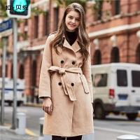 【年中庆 2件2.5折到手价:247】新款秋冬季流行中长款双面呢羊毛加厚呢子大衣女赫本毛呢外套
