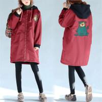 加绒保暖外套孕妇棉衣 孕妇装冬装新款韩版宽松中长款大衣潮妈