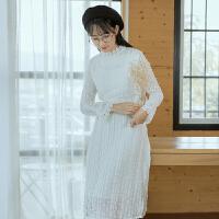 2017新款冬季森女系小清新蕾丝连衣裙女收腰显瘦中长款加厚打底裙 白色