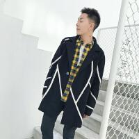 新款男士休闲针织开衫秋冬外套韩版潮流青年男装毛衣修身拼色线衣