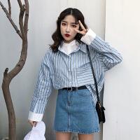 韩版复古简约chic春季新款条纹假两件长袖衬衫女韩范宽松百搭上衣