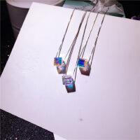 S925纯银 奥地利水晶方糖项链 极光炫彩锁骨链 前任3同款项链 饰 925银