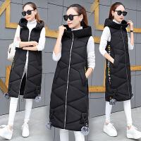 棉衣马甲女士外套秋冬季新款韩版修身显瘦中长款无袖连帽棉衣背心外套