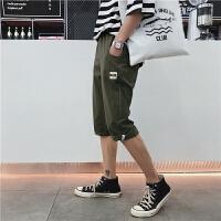 夏季男士短裤休闲裤修身七分裤沙滩裤韩版中裤潮流五分裤运动男裤
