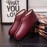 休闲鞋冬季保暖皮棉鞋包跟男女居家手工老人月子防滑厚底PU防水棉拖鞋冬