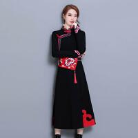 中国风女装连衣裙2018春装新款重工绣花民族风长袖连衣裙修身长裙