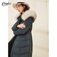 羽绒服女中长款拉夏贝尔冬季新款宽松连帽毛领派克服大衣外套