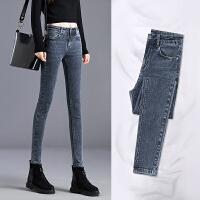 Lee Cooper新款韩版紧身小脚显瘦高腰直筒时尚修身牛仔裤女