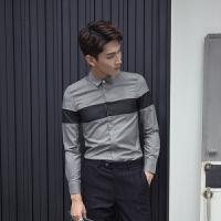 时尚韩版拼接款修身男士长袖衬衫 青年精品英伦衬衣潮流