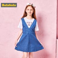 巴拉巴拉夏装2018新款童装女童连衣裙儿童公主裙中大童牛仔背带裙