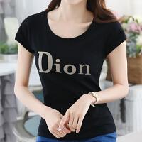 短袖女t恤夏季新款女装韩版修身紧身字母休闲圆领黑色体恤衫上衣