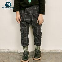 【2件3.8折】迷你巴拉巴拉男童裤子2019春秋新款透气童裤儿童萝卜裤格子长裤