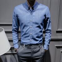 新款2018秋季牛仔衬衣时尚男装修身蓝色条纹衬衫青少年英伦牛仔衣