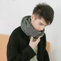 ulzzang夹色毛线中性 韩版简约学生针织围脖套头冬天男女保暖原宿