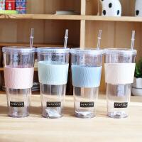 【包邮】酷爽夏日冰杯塑料杯学生情侣办公室带盖吸管水杯