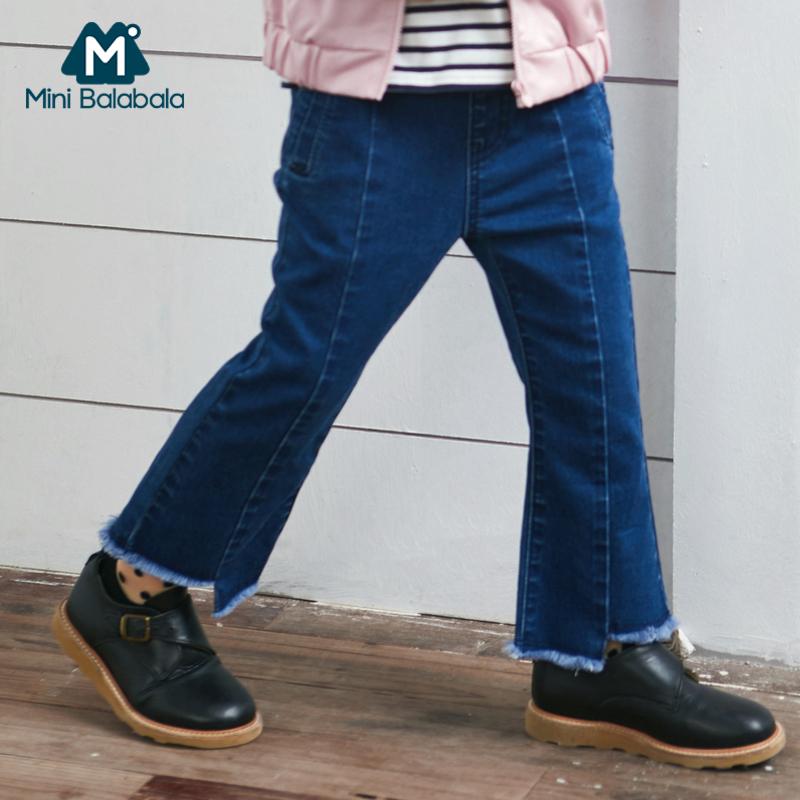 迷你巴拉巴拉女童牛仔裤2019春秋新品童装裤子女童弹力牛仔九分裤