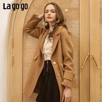 【两件5折后价444.5】Lagogo/拉谷谷2018年冬季新款时尚欧式优雅毛呢大衣HCDD239C57
