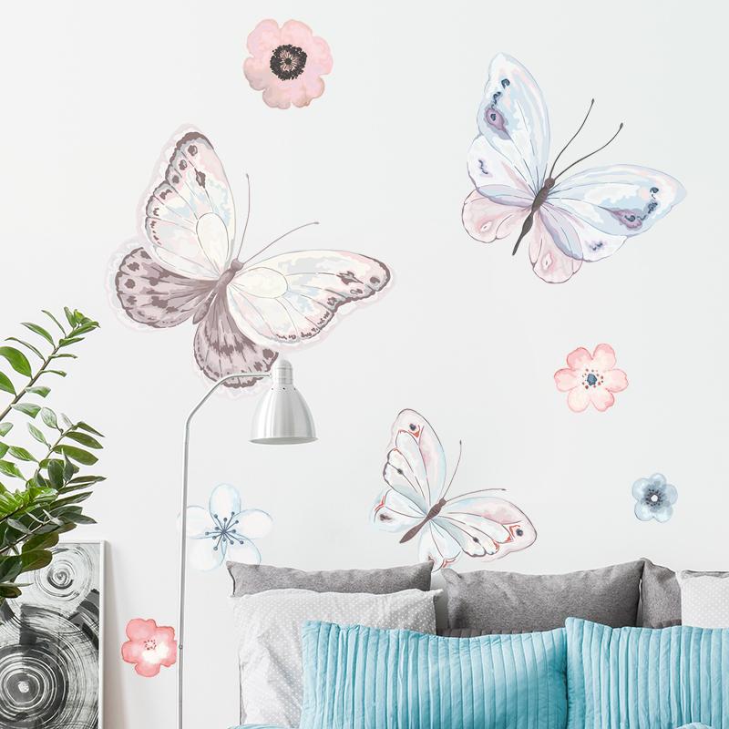 田园蝴蝶墙贴花朵客厅卧室温馨背景墙装饰品贴画
