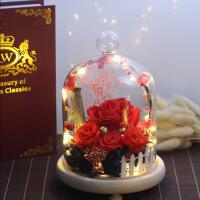 玫瑰花永生花发光永生花玻璃罩diy玫瑰花发光夜灯礼盒圣诞节情人节生日礼物