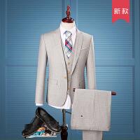 男西服套装修身英伦竖条纹休闲西装男套装三件套新郎结婚礼服男士