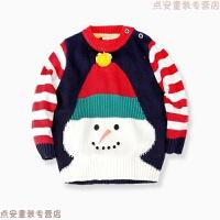 圣诞雪人圆领儿童套头衫宝宝毛衣2018冬装新款韩版男童肩扣线衫 彩色雪人毛衣