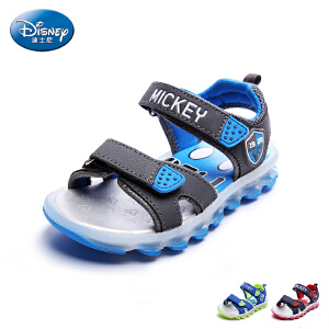 迪士尼凉鞋17年夏季新款儿童鞋男童露趾沙滩鞋小童双魔术贴凉鞋