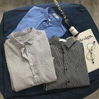 夏季新款学生韩版修身青少年竖条纹五分袖日系衬衫潮流短袖衬衣男