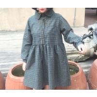 春装女装新款韩版小清新宽松长袖格子衬衫娃娃裙显瘦连衣裙打底裙 均码