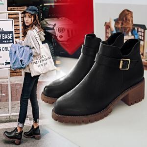 ZHR2017秋冬新款裸靴粗跟短靴复古单靴马丁靴女英伦风高跟女靴子AF07