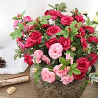 仿真玫瑰花束 欧式客厅卧室餐桌茶几装饰花艺摆件假花绢花插花